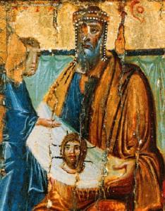 Abgar V regge il Mandylion. Icona del X secolo. http://it.wikipedia.org/wiki/File:Abgarwithimageofedessa10thcentury.jpg
