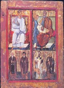 L'apostolo Taddeo e re Abgar Icona da S. Caterina al Monte Sinai, olio su tavola, X secolo. http://greatshroudofturinfaq.com/History/Greek-Byzantine/fullabgarpainting.html