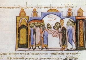 Il 16 agosto del 944 il Mandylion di Edessa giunge a Costantinopoli accolto dall'imperatore Romano il Lecapeno. Immagine di Edessa. Madrid, Biblioteca Nacional de España, Codex Skylitzes, ms Vitr. 26-2, Sinossi della storia, XIII secolo, f. 131 http://veronicaroute.com/0944/09/18/944/