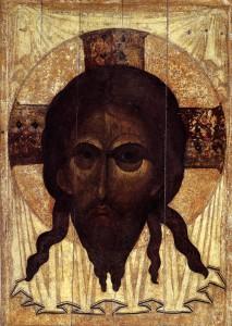 Santo Mandylion di Andrej Rublev Icona, 1360. Andrej Rublev Museum, Mosca http://www.christusrex.org/www2/art/images/icon10.jpg